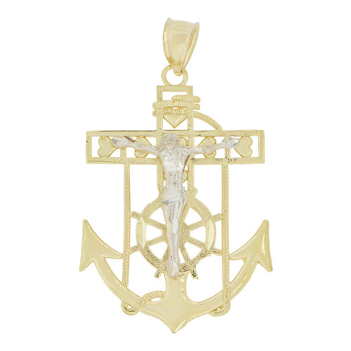 14k Yellow and White Gold, Christ Jesus Anchor Cross Crucifix Pendant Religious Charm 28mm (P032-004)