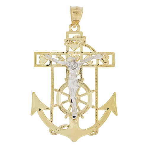 14k Yellow and White Gold, Christ Jesus Anchor Cross Crucifix Pendant Religious Charm 35mm (P032-005)