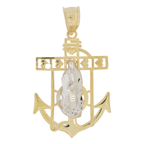 14k Yellow and White Gold, Virgin Mary Anchor Cross Pendant Religious Charm 21mm (P032-006)