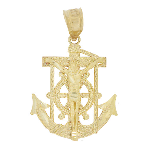 14k Yellow Gold, Small Christ Jesus Anchor Cross Crucifix Pendant Religious Charm 17mm (P032-010)