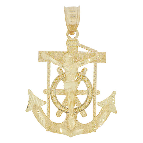 14k Yellow Gold, Christ Jesus Anchor Cross Crucifix Pendant Religious Charm 25mm (P032-011)