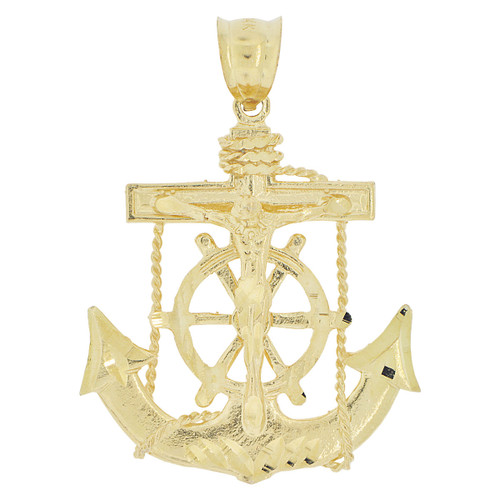 14k Yellow Gold, Christ Jesus Anchor Cross Crucifix Pendant Religious Charm 31mm (P032-013)