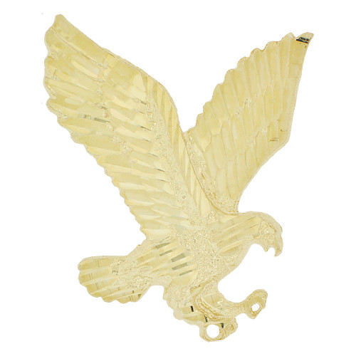 14k Yellow Gold, Flying Bald Eagle Pendant Charm Sparkly Cuts 30mm (P033-010)