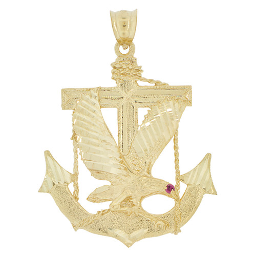 14k Yellow Gold, Anchor Flying Bald Eagle Pendant Charm Red Created CZ 39mm (P033-013)