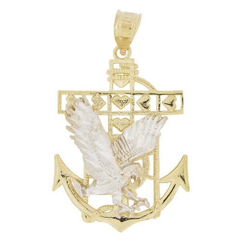 14k Yellow and white Gold, Flying Bald Eagle Anchor Cross Pendant Charm 22mm (P033-018)