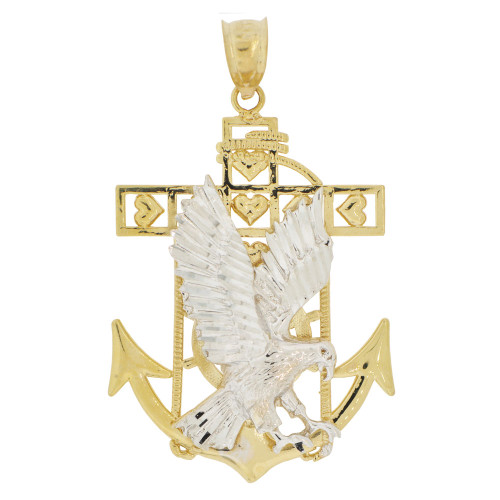 14k Yellow and white Gold, Flying Bald Eagle Anchor Cross Pendant Charm 27mm (P033-019)