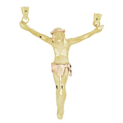 14k Yellow and Rose Gold, Open Arms Christ Jesus Crucifixion Pendant Religious Charm 56mm (P034-004)
