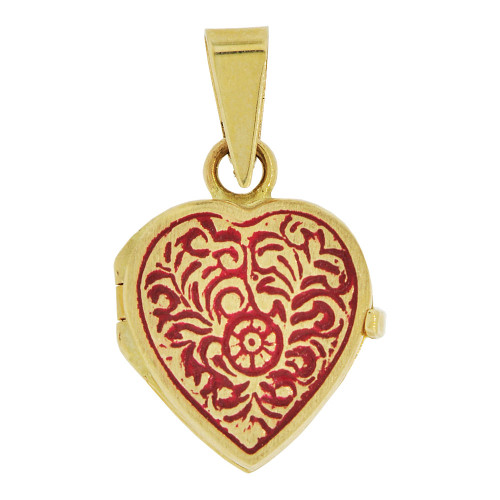 14k Yellow Gold, Locket Pendant Charms For Photos Heart Vivid Red Enamel Coloring 16mm (P035-007)