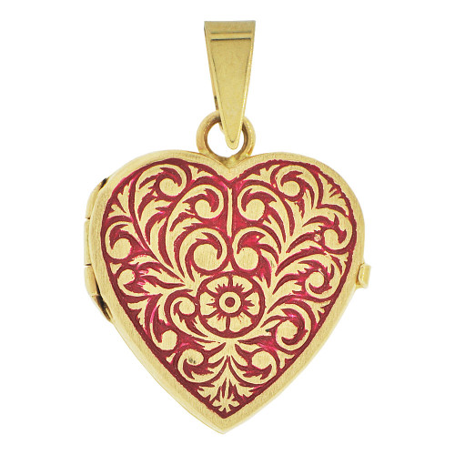 14k Yellow Gold, Locket Pendant Charms For Photos Heart Vivid Red Enamel Coloring 21mm (P035-010)