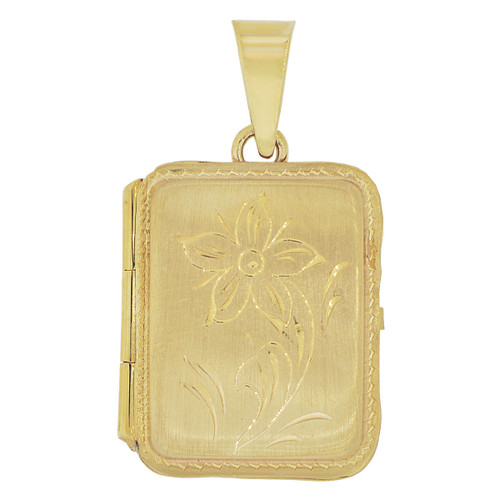 14k Yellow Gold, Locket Pendant Charms For Photos Rectangle Square Flower Engraving 20mm (P035-013)