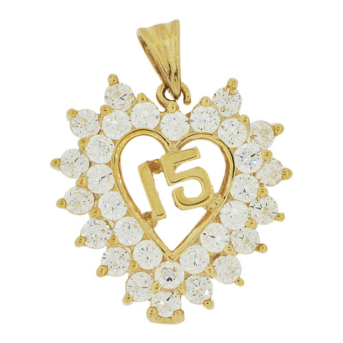 14k Yellow Gold, Heart 15 Anos Quinceanera Pendant Charm Brilliant Created CZ 22mm (P035-020)