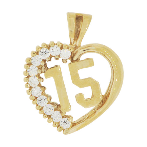 14k Yellow Gold, Heart 15 Anos Quinceanera Pendant Charm Brilliant Created CZ 16mm (P035-021)