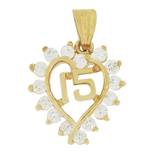 14k Yellow Gold, Heart 15 Anos Quinceanera Pendant Charm Brilliant Created CZ 17mm (P035-022)