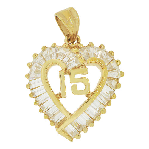 14k Yellow Gold, Heart 15 Anos Quinceanera Pendant Charm Brilliant Created CZ 20mm (P035-023)