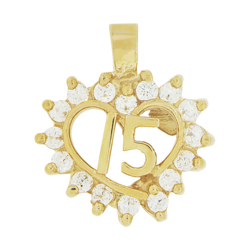 14k Yellow Gold, Small Heart 15 Anos Quinceanera Pendant Charm Brilliant Created CZ 14mm (P035-024)