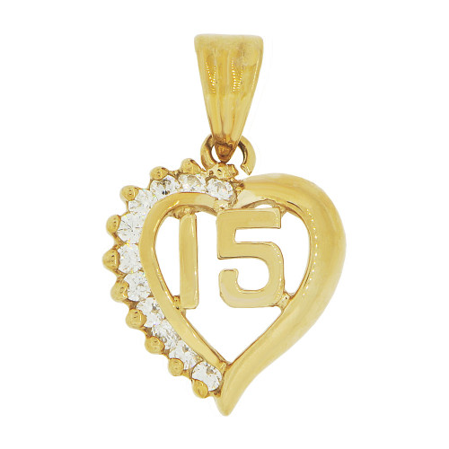 14k Yellow Gold, Heart 15 Anos Quinceanera Pendant Charm Brilliant Created CZ 14mm (P035-025)