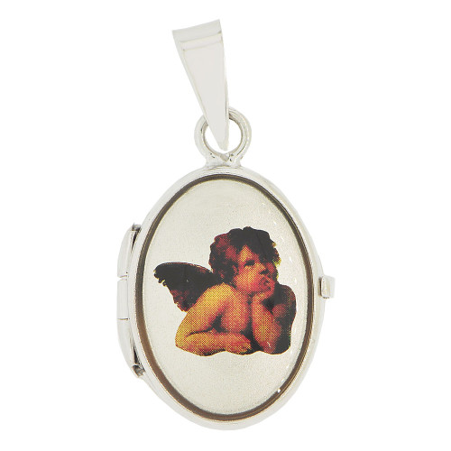 14k White Gold, Locket Pendant Charm Angel Image for Photos Oval 17mm (P035-067)