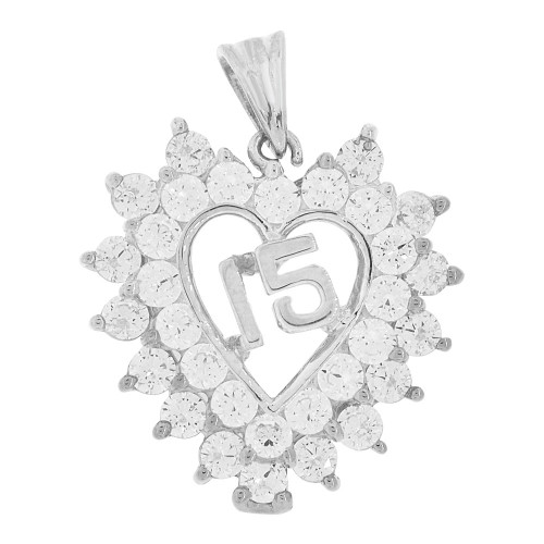 14k White Gold, Heart 15 Anos Quinceanera Pendant Charm Brilliant Created CZ 22mm (P035-070)