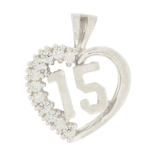 14k White Gold, Heart 15 Anos Quinceanera Pendant Charm Brilliant Created CZ 16mm (P035-071)