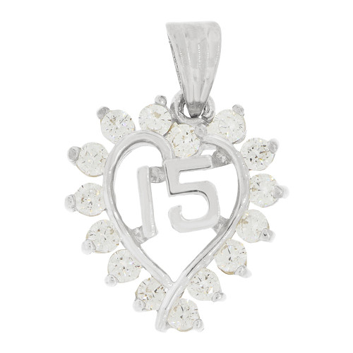 14k White Gold, Heart 15 Anos Quinceanera Pendant Charm Brilliant Created CZ 17mm (P035-072)