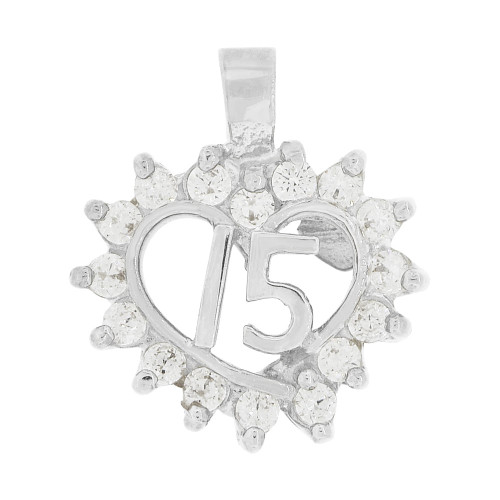 14k White Gold, Small Heart 15 Anos Quinceanera Pendant Charm Brilliant Created CZ 14mm (P035-074)