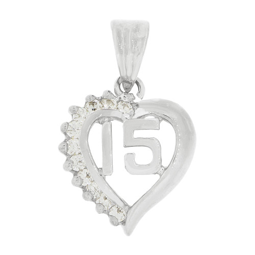 14k White Gold, Heart 15 Anos Quinceanera Pendant Charm Brilliant Created CZ 14mm (P035-075)
