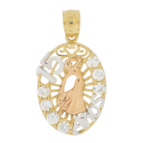 14k Tricolor Gold, 15 Anos Quinceanera Dress Gown Pendant Charm Created CZ Crystals 15mm (P028-039)