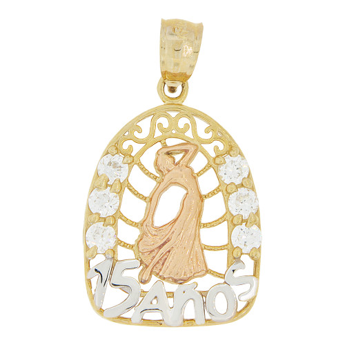 14k Tricolor Gold, Oval 15 Anos Quinceanera Dress Gown Pendant Charm Created CZ Crystals 16mm (P028-040)