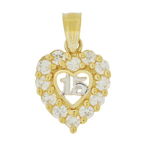 14k Yellow Gold White Rhodium, Mini Heart 15 Anos Quinceanera Pendant Charm Created CZ 11mm (P035-027)