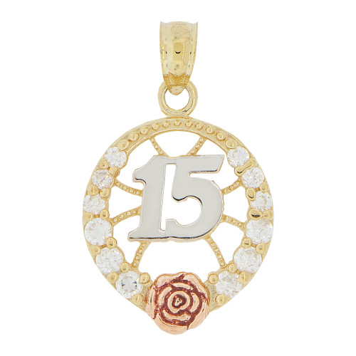 14k Tricolor Gold, 15 Anos Quinceanera Pendant Charm Rose and Created CZ Crystals 14mm (P028-044)