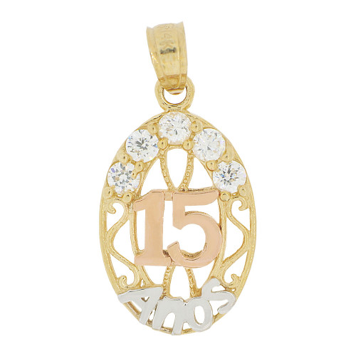 14k Tricolor Gold, Oval 15 Anos Quinceanera Pendant Charm Created CZ Crystals (P028-043)
