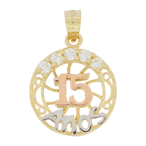 14k Tricolor Gold, Round 15 Anos Quinceanera Pendant Charm Created CZ Crystals (P028-042)