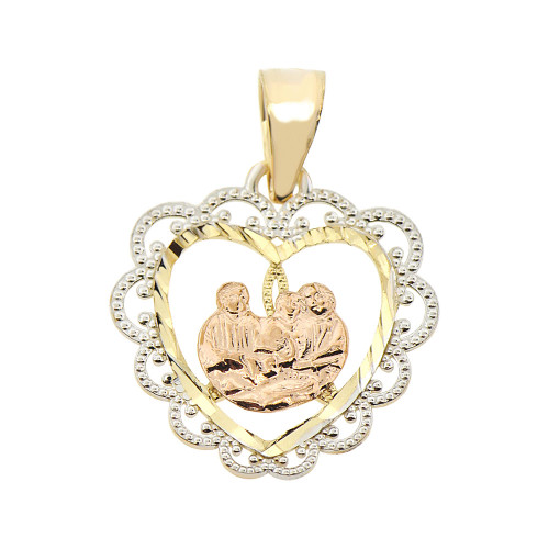 14k Tricolor Gold, Baptism Christening Religious Pendant Filigree Heart 18mm (P008-023)