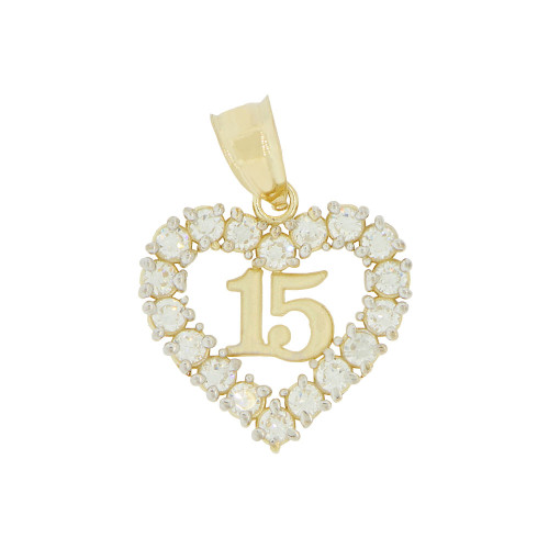 14k Yellow Gold White Rhodium, Small Heart 15 Anos Quinceanera Pendant Created CZ 16mm (P035-028)