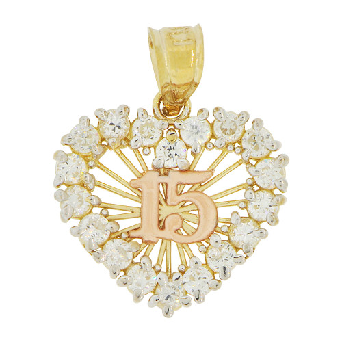 14k Yellow and Rose Gold, Heart Design 15 Anos Quinceanera Pendant Charm Created CZ 17mm (P035-029)