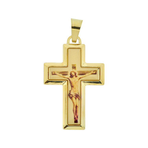 14k Yellow Gold, Crucifix Cross Colorful Resin Overlay Jesus Christ Religious Pendant 19mm (P009-003)