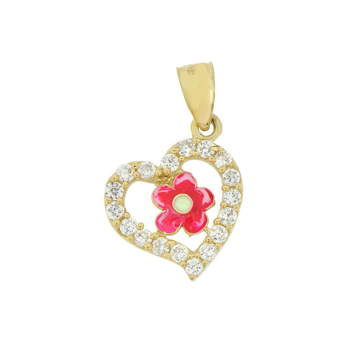 14k Yellow Gold, Heart Flower Pendant Created CZ and Synthetic Enamel Overlay 13mm (P009-006)