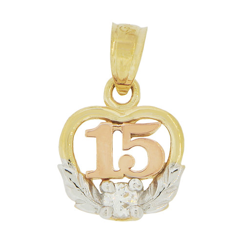 14k Tricolor Gold, 15 Quinceanera Mini Pendant Charm Brilliant Created CZ Crystal 10mm (P035-031)