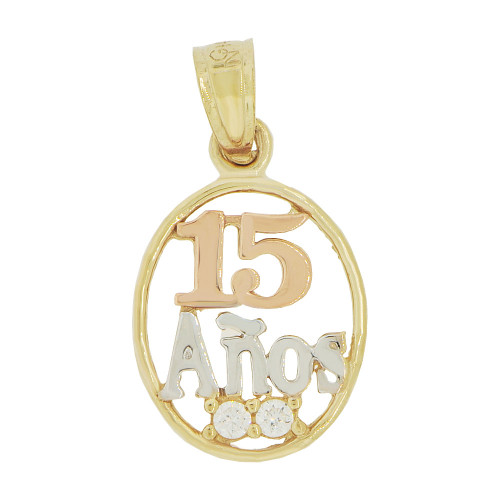 14k Tricolor Gold, 15 Quinceanera Small Pendant Charm Brilliant Created CZ 11mm (P035-032)