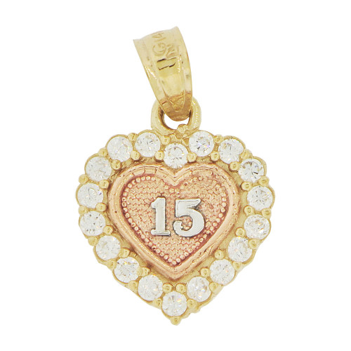 14k Tricolor Gold, 15 Heart Quinceanera Small Pendant Charm Brilliant Created CZ 12mm (P035-033)