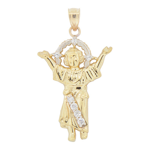 14k Yellow Gold White Rhodium, Small Divine Infant Child Jesus Christ Pendant Created CZ Crystals 18mm (P018-025)