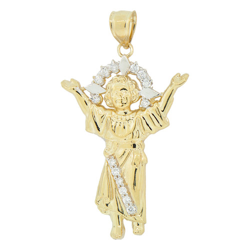 14k Yellow Gold White Rhodium, Divine Infant Child Jesus Christ Pendant Charm Created CZ Crystals 25mm (P018-026)