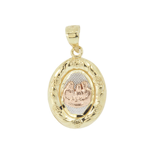 14k Tricolor Gold, Baptism Christening Medal Pendant Religious Charm Oval 16mm (P012-029)