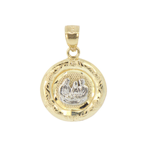 14k Yellow Gold White Rhodium, Baptism Christening Medal Pendant Religious Charm Round 16mm (P012-030)