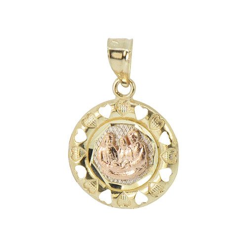 14k Yellow & Rose Gold, Baptism Christening Medal Pendant Religious Charm Round 17mm (P012-031)