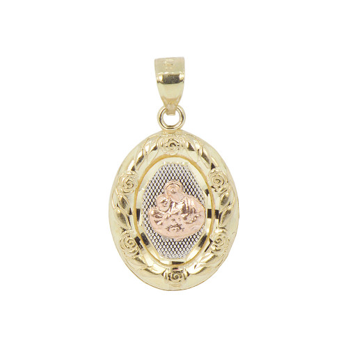 14k Tricolor Gold, Communion Confirmation Medal Pendant Religious Charm Oval 16mm (P012-032)