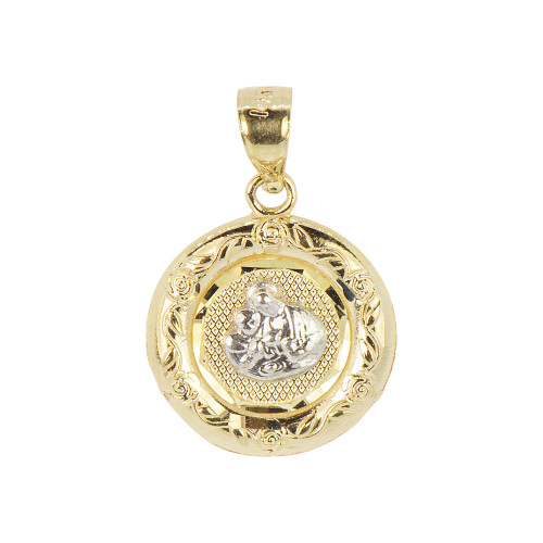 14k Yellow Gold White Rhodium, Communion Confirmation Medal Pendant Religious Charm Oval 16mm (P012-033)