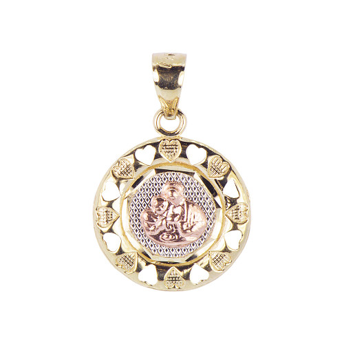14k Tricolor Gold, Communion Confirmation Medal Pendant Religious Charm Round 16mm (P012-034)
