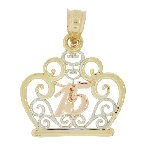 14k Tricolor Gold, Tiara Crown Filigree Design 15 Pendant Charm Quinceanera 19mm (P035-034)