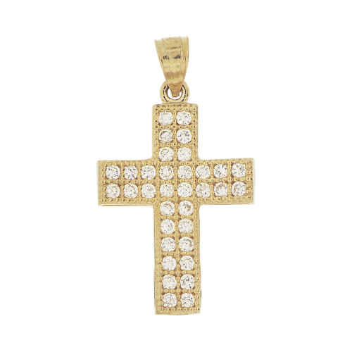 14k Yellow Gold White Rhodium, Cross Created CZ Crystals Pendant Religious Charm 18mm (P020-034)